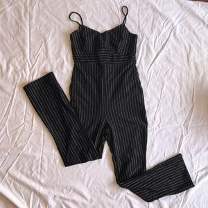 Pinstripe fitted jumpsuit